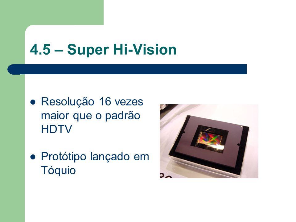 4.5 – Super Hi-Vision Resolução 16 vezes maior que o padrão HDTV Protótipo lançado em Tóquio