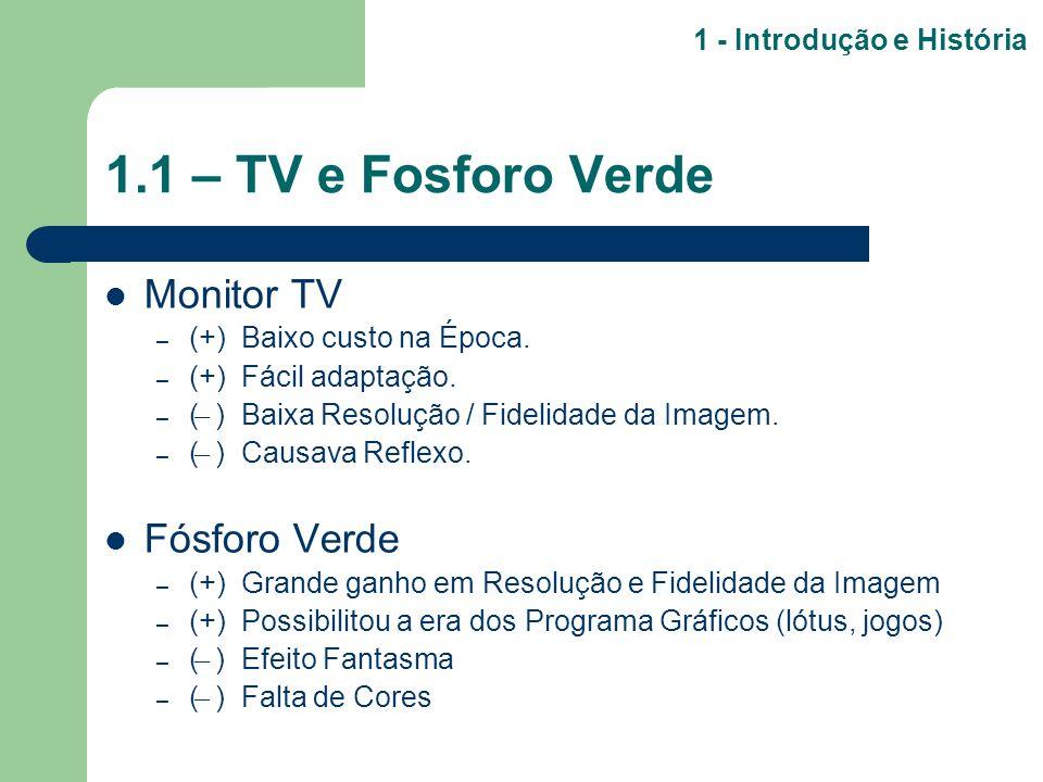 1.1 – TV e Fosforo Verde Monitor TV – (+) Baixo custo na Época. – (+) Fácil adaptação. – ( ̶ ) Baixa Resolução / Fidelidade da Imagem. – ( ̶ ) Causava