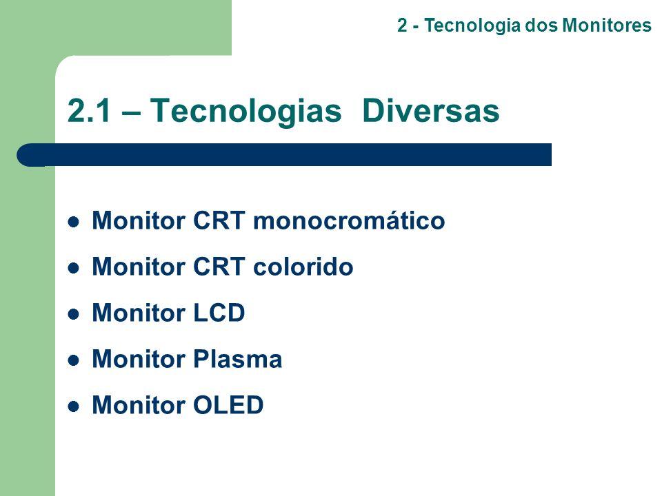 2.1 – Tecnologias Diversas Monitor CRT monocromático Monitor CRT colorido Monitor LCD Monitor Plasma Monitor OLED 2 - Tecnologia dos Monitores