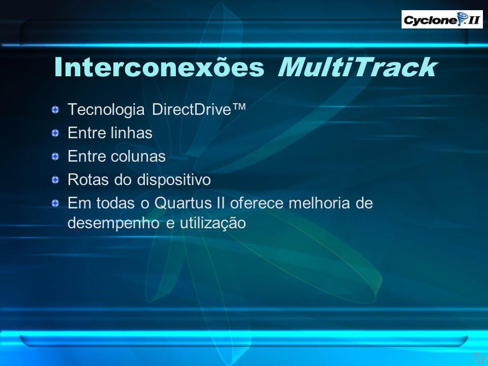 Interconexões MultiTrack Tecnologia DirectDrive Entre linhas Entre colunas Rotas do dispositivo Em todas o Quartus II oferece melhoria de desempenho e