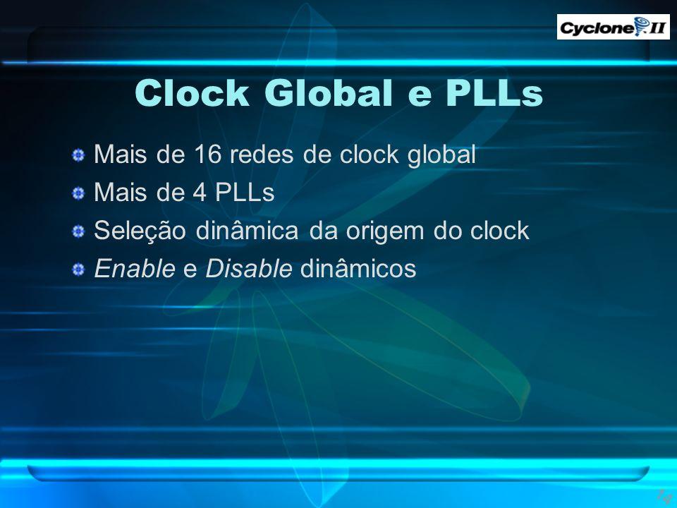 Clock Global e PLLs Mais de 16 redes de clock global Mais de 4 PLLs Seleção dinâmica da origem do clock Enable e Disable dinâmicos 14