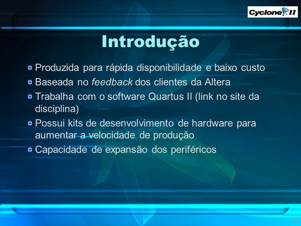 Introdução Produzida para rápida disponibilidade e baixo custo Baseada no feedback dos clientes da Altera Trabalha com o software Quartus II (link no