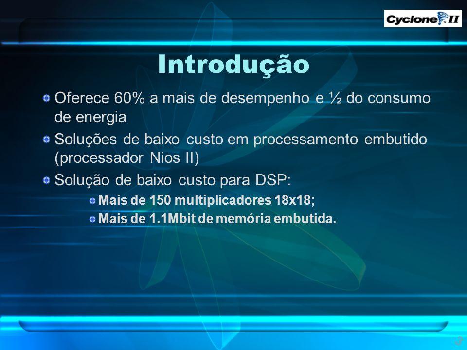 Introdução Oferece 60% a mais de desempenho e ½ do consumo de energia Soluções de baixo custo em processamento embutido (processador Nios II) Solução