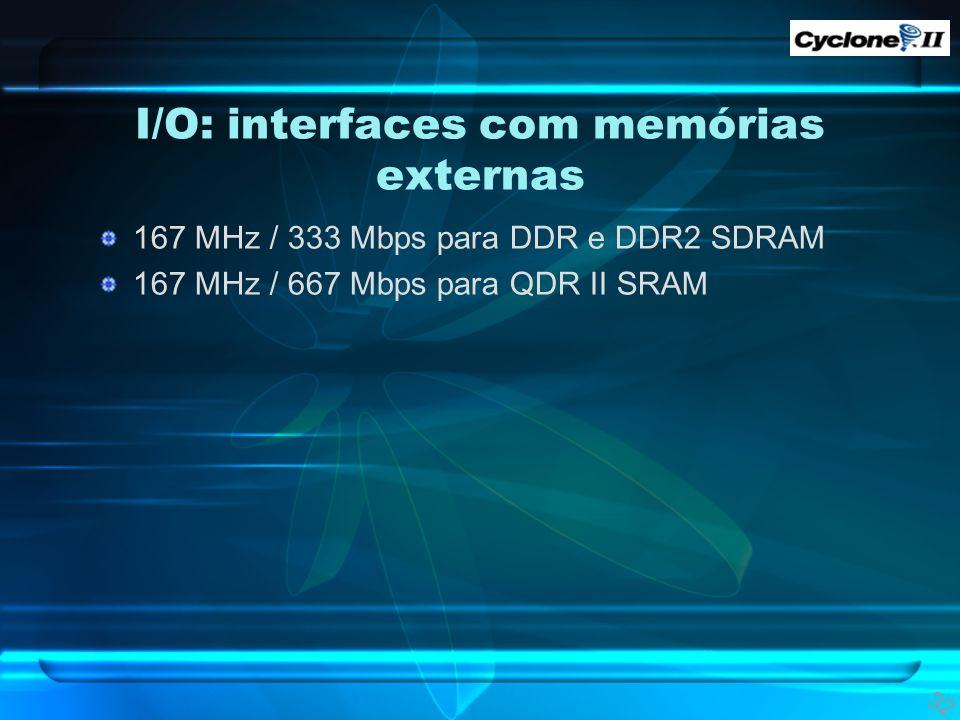 I/O: interfaces com memórias externas 167 MHz / 333 Mbps para DDR e DDR2 SDRAM 167 MHz / 667 Mbps para QDR II SRAM 32