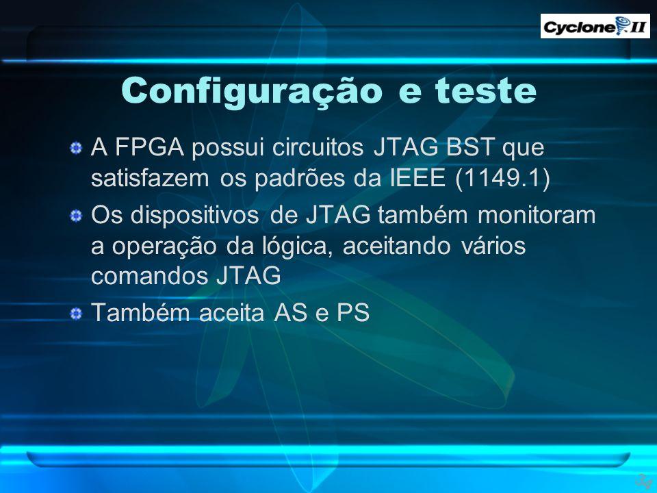 Configuração e teste A FPGA possui circuitos JTAG BST que satisfazem os padrões da IEEE (1149.1) Os dispositivos de JTAG também monitoram a operação d