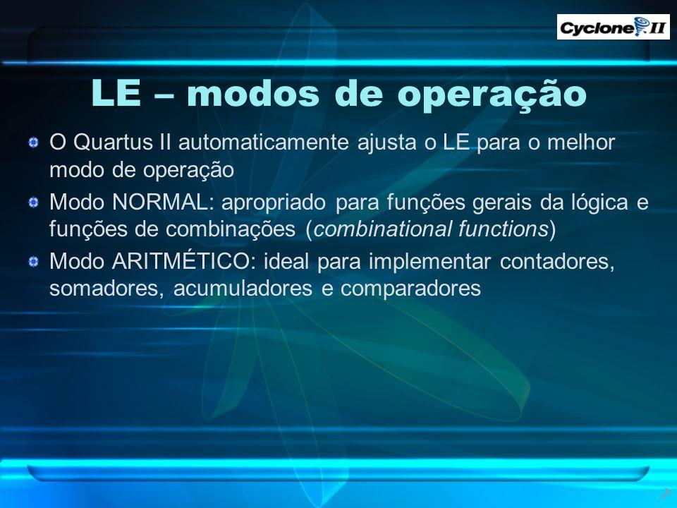 O Quartus II automaticamente ajusta o LE para o melhor modo de operação Modo NORMAL: apropriado para funções gerais da lógica e funções de combinações