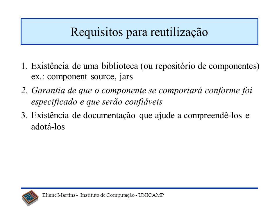 Eliane Martins - Instituto de Computação - UNICAMP 1.Existência de uma biblioteca (ou repositório de componentes) ex.: component source, jars 2.Garant