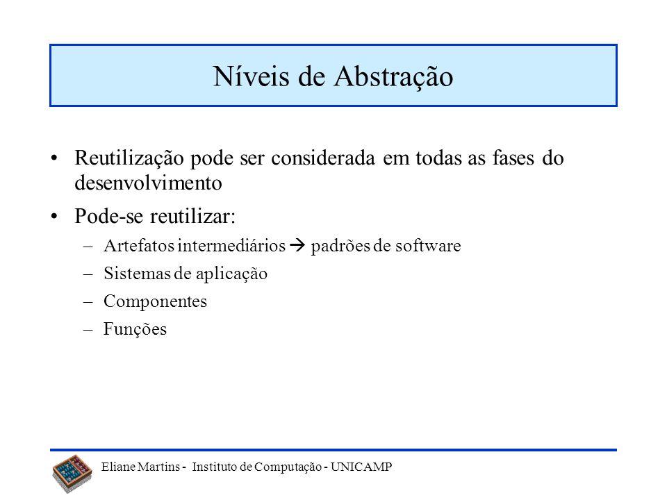 Eliane Martins - Instituto de Computação - UNICAMP Reutilização pode ser considerada em todas as fases do desenvolvimento Pode-se reutilizar: –Artefat