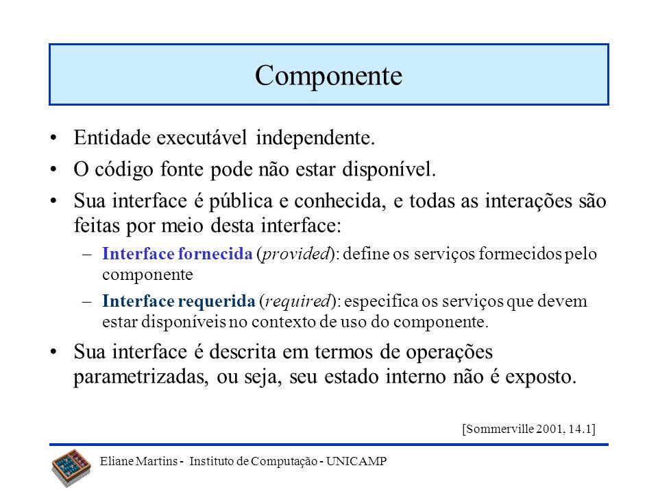 Eliane Martins - Instituto de Computação - UNICAMP Entidade executável independente. O código fonte pode não estar disponível. Sua interface é pública