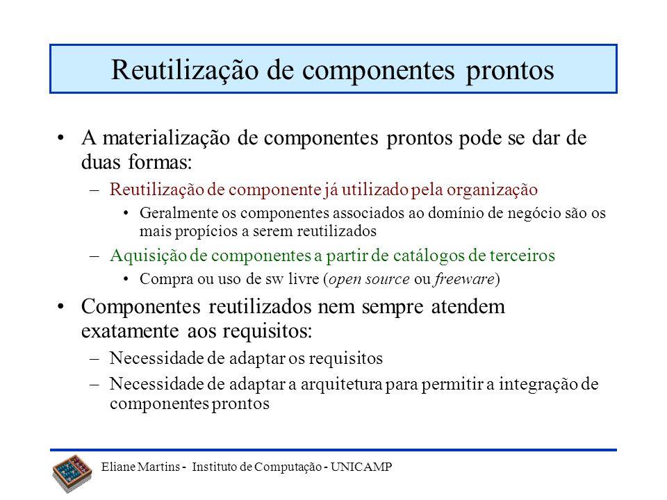 Eliane Martins - Instituto de Computação - UNICAMP Reutilização de componentes prontos A materialização de componentes prontos pode se dar de duas for