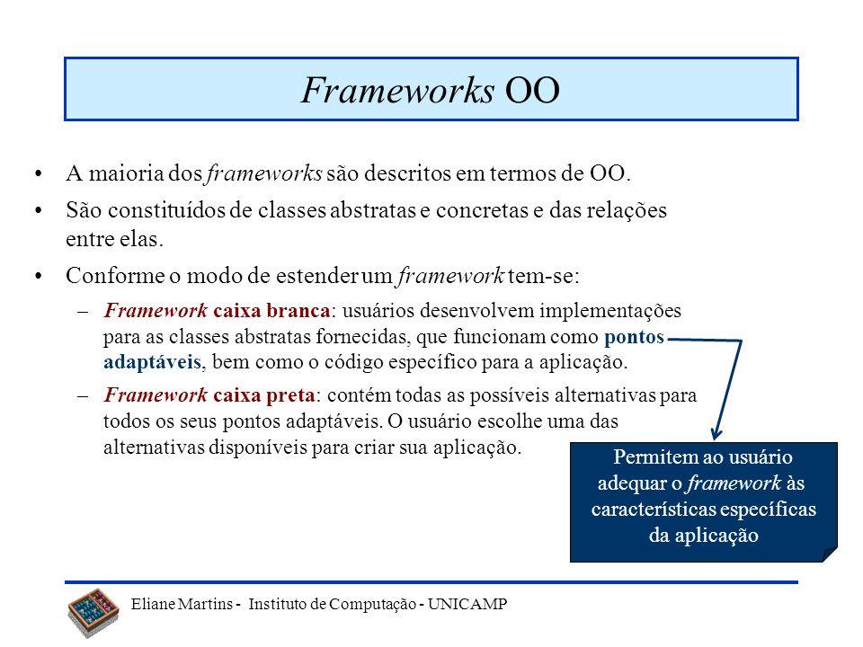Eliane Martins - Instituto de Computação - UNICAMP Frameworks OO A maioria dos frameworks são descritos em termos de OO. São constituídos de classes a