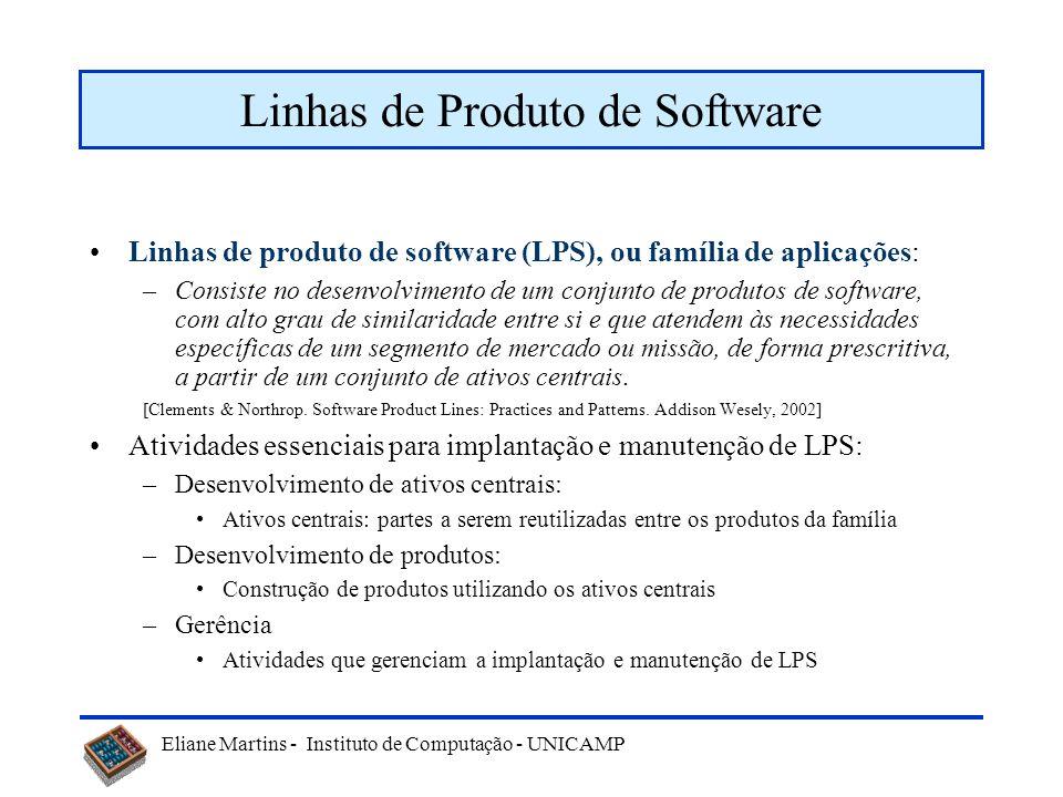 Eliane Martins - Instituto de Computação - UNICAMP Linhas de Produto de Software Linhas de produto de software (LPS), ou família de aplicações: –Consi