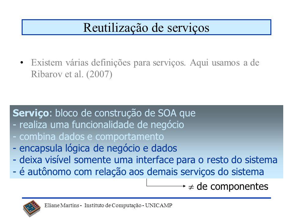 Eliane Martins - Instituto de Computação - UNICAMP Reutilização de serviços Existem várias definições para serviços. Aqui usamos a de Ribarov et al. (