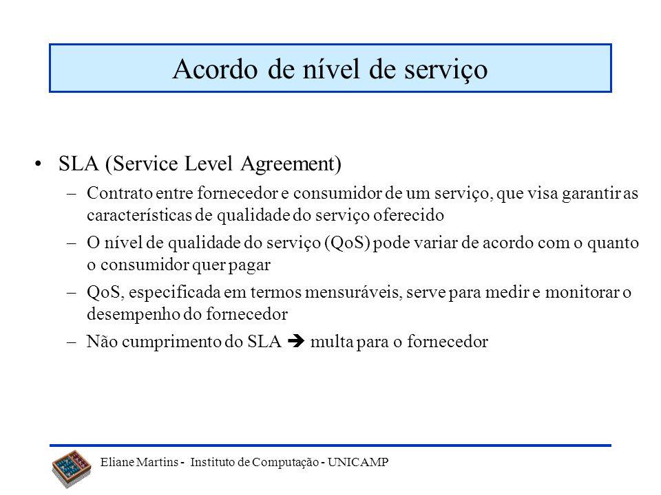 Eliane Martins - Instituto de Computação - UNICAMP Acordo de nível de serviço SLA (Service Level Agreement) –Contrato entre fornecedor e consumidor de