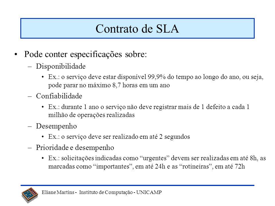 Eliane Martins - Instituto de Computação - UNICAMP Contrato de SLA Pode conter especificações sobre: –Disponibilidade Ex.: o serviço deve estar dispon