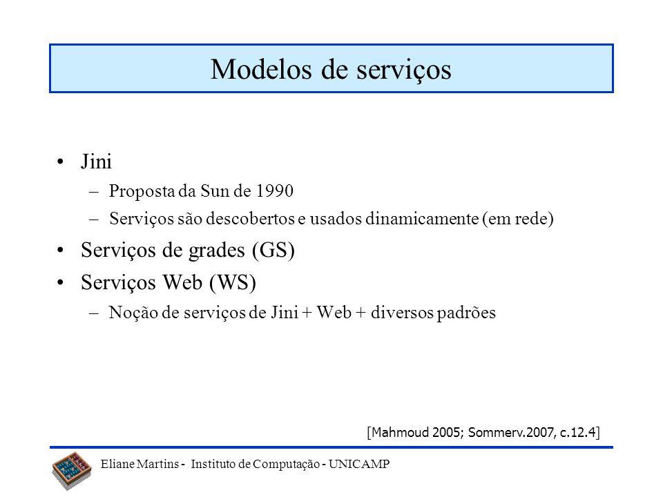 Eliane Martins - Instituto de Computação - UNICAMP Modelos de serviços Jini –Proposta da Sun de 1990 –Serviços são descobertos e usados dinamicamente