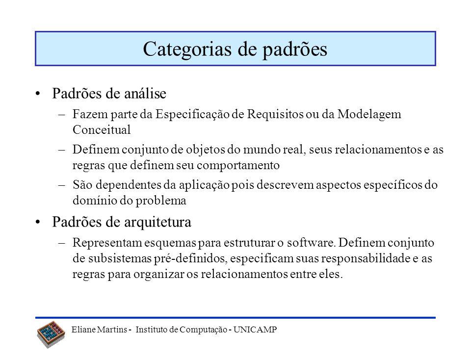 Eliane Martins - Instituto de Computação - UNICAMP Categorias de padrões Padrões de análise –Fazem parte da Especificação de Requisitos ou da Modelage