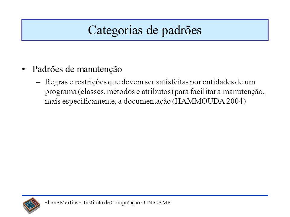 Eliane Martins - Instituto de Computação - UNICAMP Categorias de padrões Padrões de manutenção –Regras e restrições que devem ser satisfeitas por enti