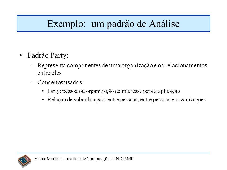 Eliane Martins - Instituto de Computação - UNICAMP Exemplo: um padrão de Análise Padrão Party: –Representa componentes de uma organização e os relacio