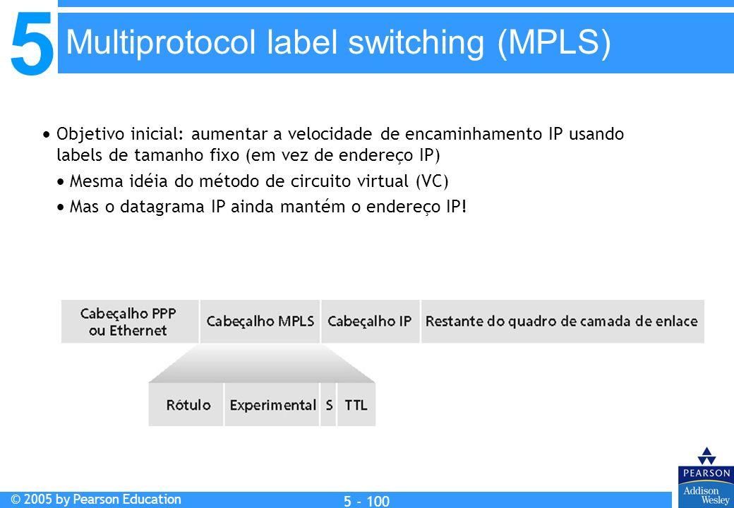 5 © 2005 by Pearson Education 5 - 100 Objetivo inicial: aumentar a velocidade de encaminhamento IP usando labels de tamanho fixo (em vez de endereço I