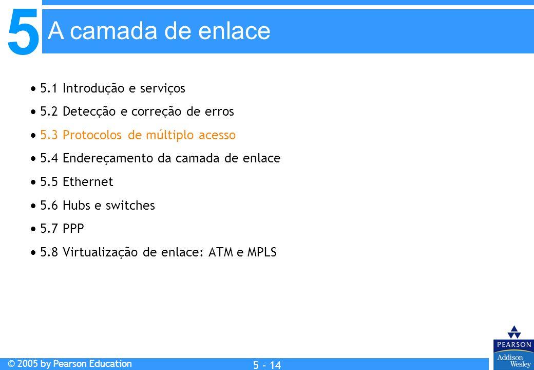 5 © 2005 by Pearson Education 5 - 14 A camada de enlace 5.1 Introdução e serviços 5.2 Detecção e correção de erros 5.3 Protocolos de múltiplo acesso 5