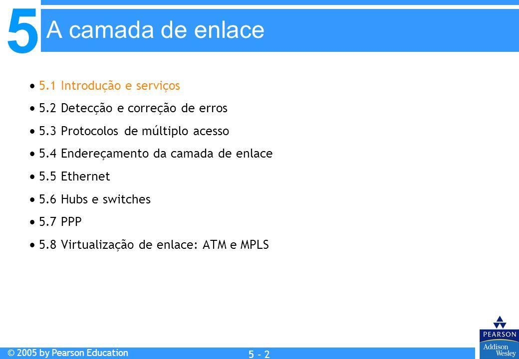 5 © 2005 by Pearson Education 5 - 2 A camada de enlace 5.1 Introdução e serviços 5.2 Detecção e correção de erros 5.3 Protocolos de múltiplo acesso 5.