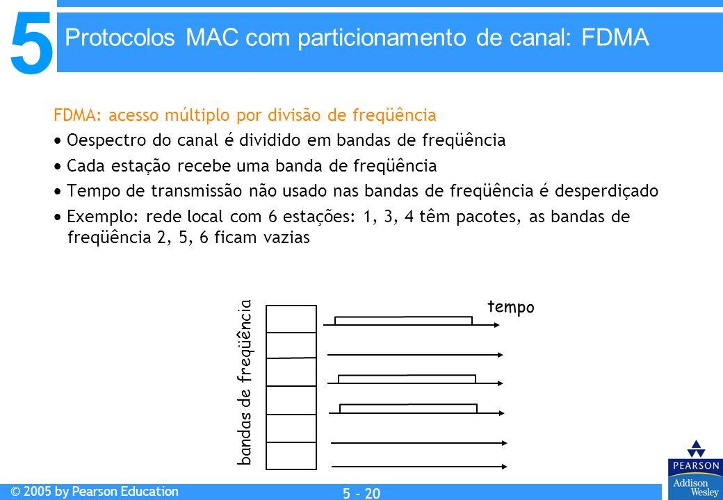 5 © 2005 by Pearson Education 5 - 20 FDMA: acesso múltiplo por divisão de freqüência Oespectro do canal é dividido em bandas de freqüência Cada estaçã