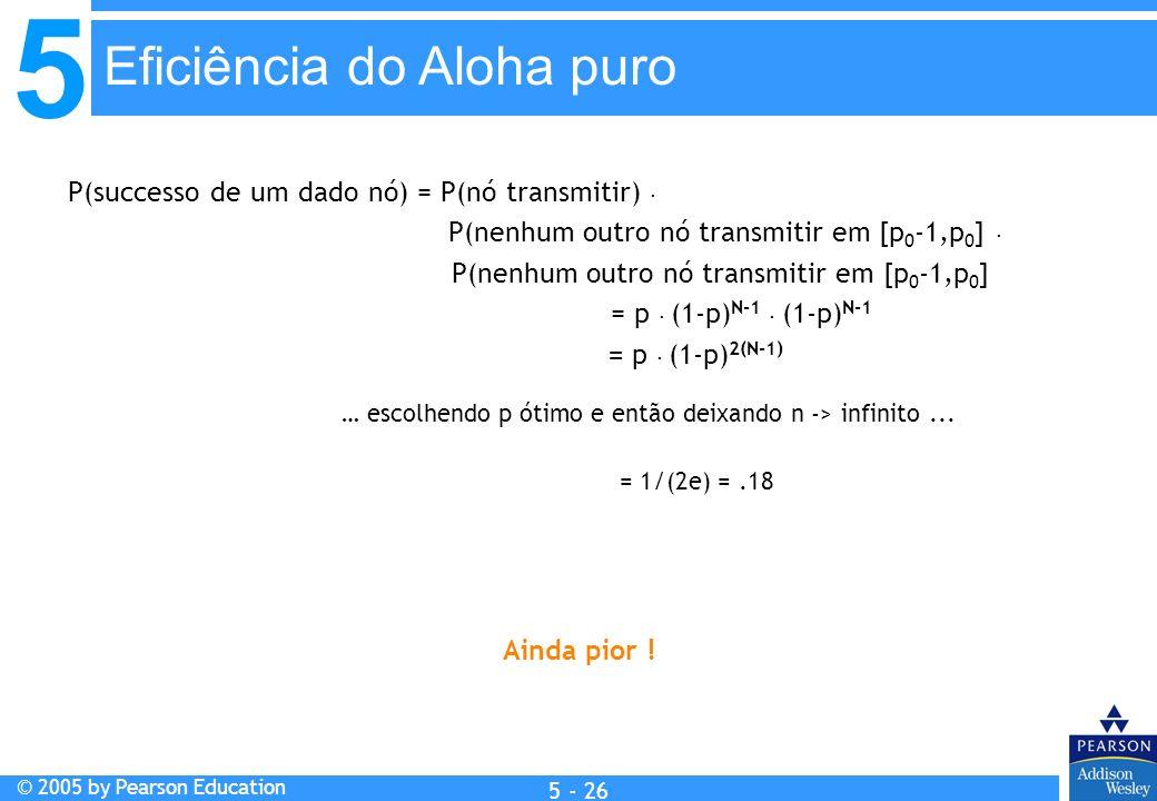 5 © 2005 by Pearson Education 5 - 26 P(successo de um dado nó) = P(nó transmitir). P(nenhum outro nó transmitir em [p 0 -1,p 0 ]. P(nenhum outro nó tr