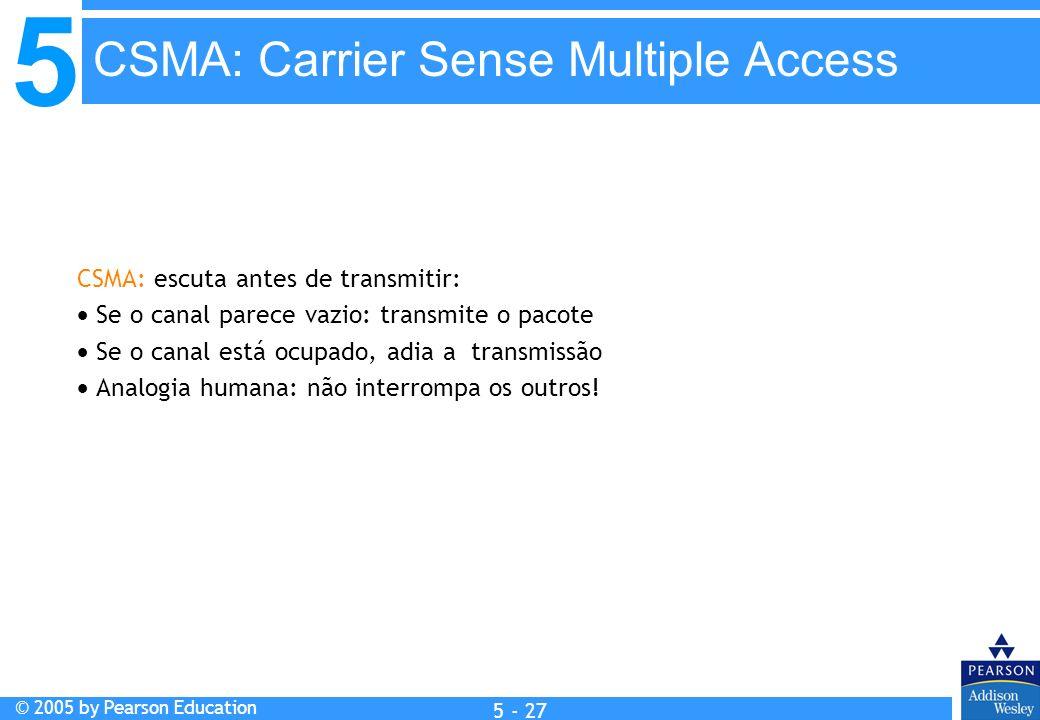 5 © 2005 by Pearson Education 5 - 27 CSMA: escuta antes de transmitir: Se o canal parece vazio: transmite o pacote Se o canal está ocupado, adia a tra