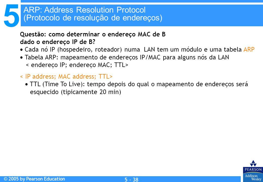 5 © 2005 by Pearson Education 5 - 38 Questão: como determinar o endereço MAC de B dado o endereço IP de B? Cada nó IP (hospedeiro, roteador) numa LAN