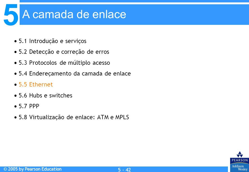 5 © 2005 by Pearson Education 5 - 42 A camada de enlace 5.1 Introdução e serviços 5.2 Detecção e correção de erros 5.3 Protocolos de múltiplo acesso 5