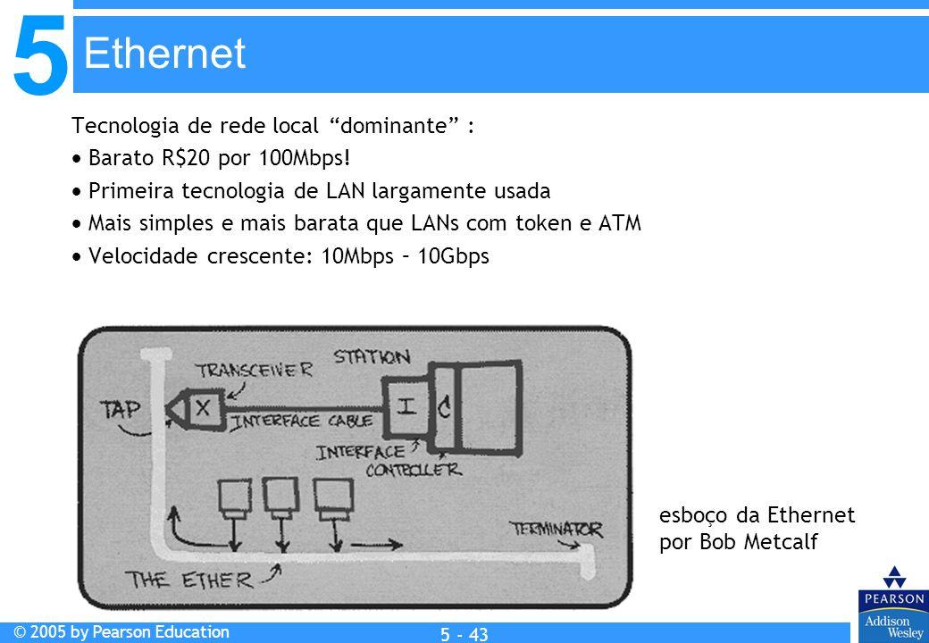 5 © 2005 by Pearson Education 5 - 43 Tecnologia de rede local dominante : Barato R$20 por 100Mbps! Primeira tecnologia de LAN largamente usada Mais si