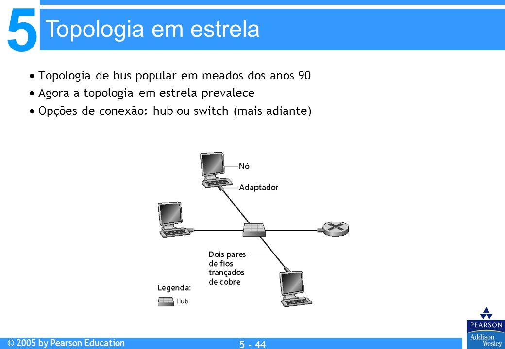 5 © 2005 by Pearson Education 5 - 44 Topologia de bus popular em meados dos anos 90 Agora a topologia em estrela prevalece Opções de conexão: hub ou s