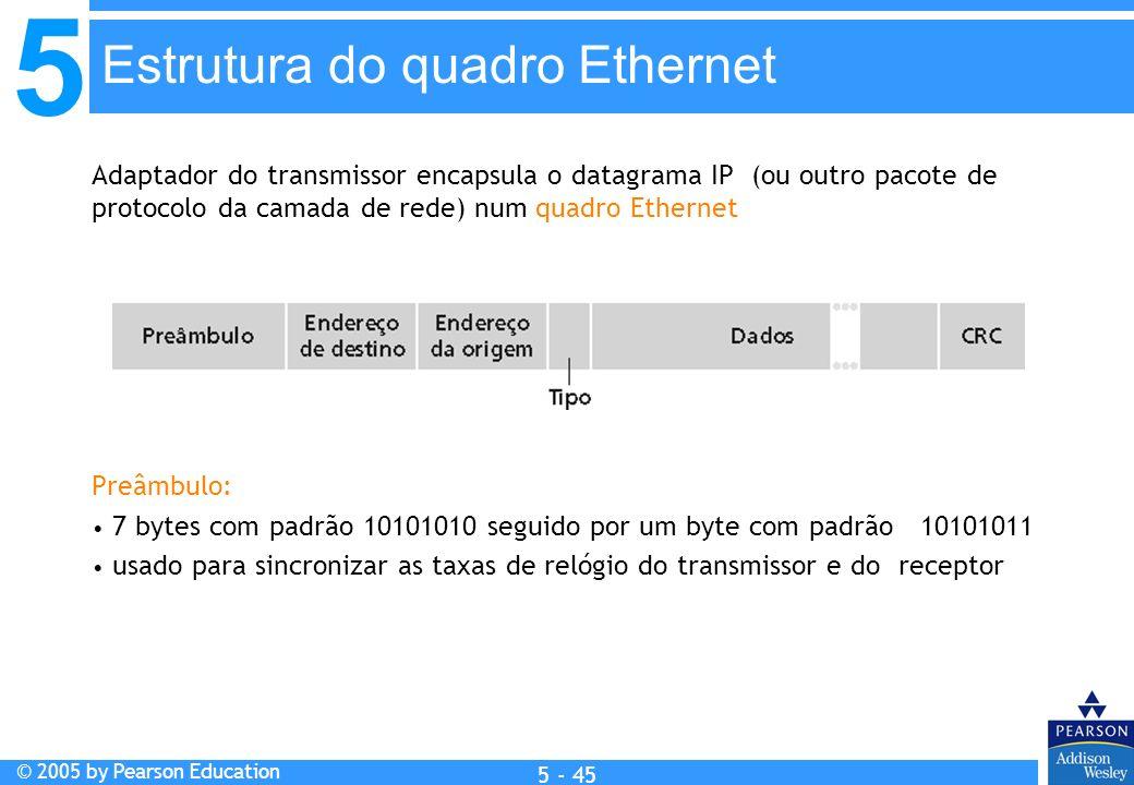 5 © 2005 by Pearson Education 5 - 45 Adaptador do transmissor encapsula o datagrama IP (ou outro pacote de protocolo da camada de rede) num quadro Eth