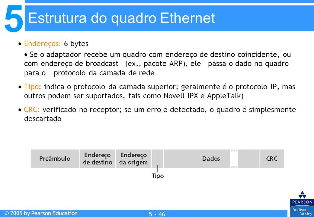 5 © 2005 by Pearson Education 5 - 46 Endereços: 6 bytes Se o adaptador recebe um quadro com endereço de destino coincidente, ou com endereço de broadc