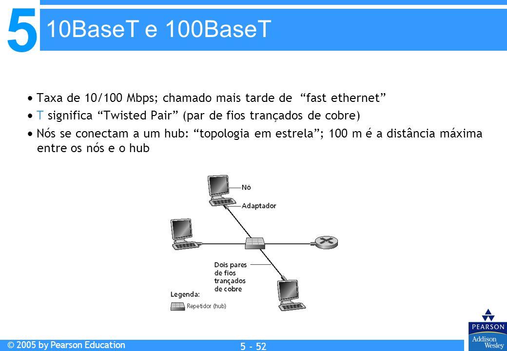 5 © 2005 by Pearson Education 5 - 52 Taxa de 10/100 Mbps; chamado mais tarde de fast ethernet T significa Twisted Pair (par de fios trançados de cobre