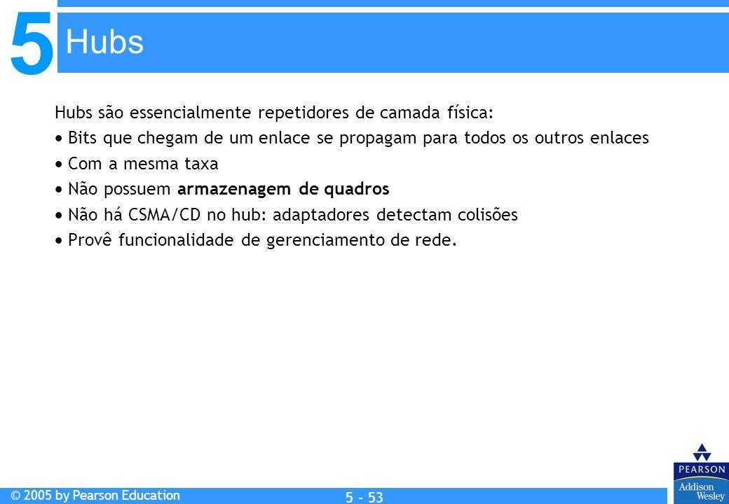 5 © 2005 by Pearson Education 5 - 53 Hubs são essencialmente repetidores de camada física: Bits que chegam de um enlace se propagam para todos os outr