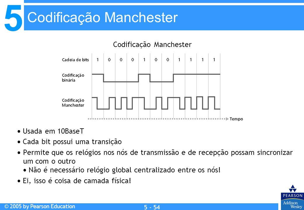 5 © 2005 by Pearson Education 5 - 54 Usada em 10BaseT Cada bit possui uma transição Permite que os relógios nos nós de transmissão e de recepção possa