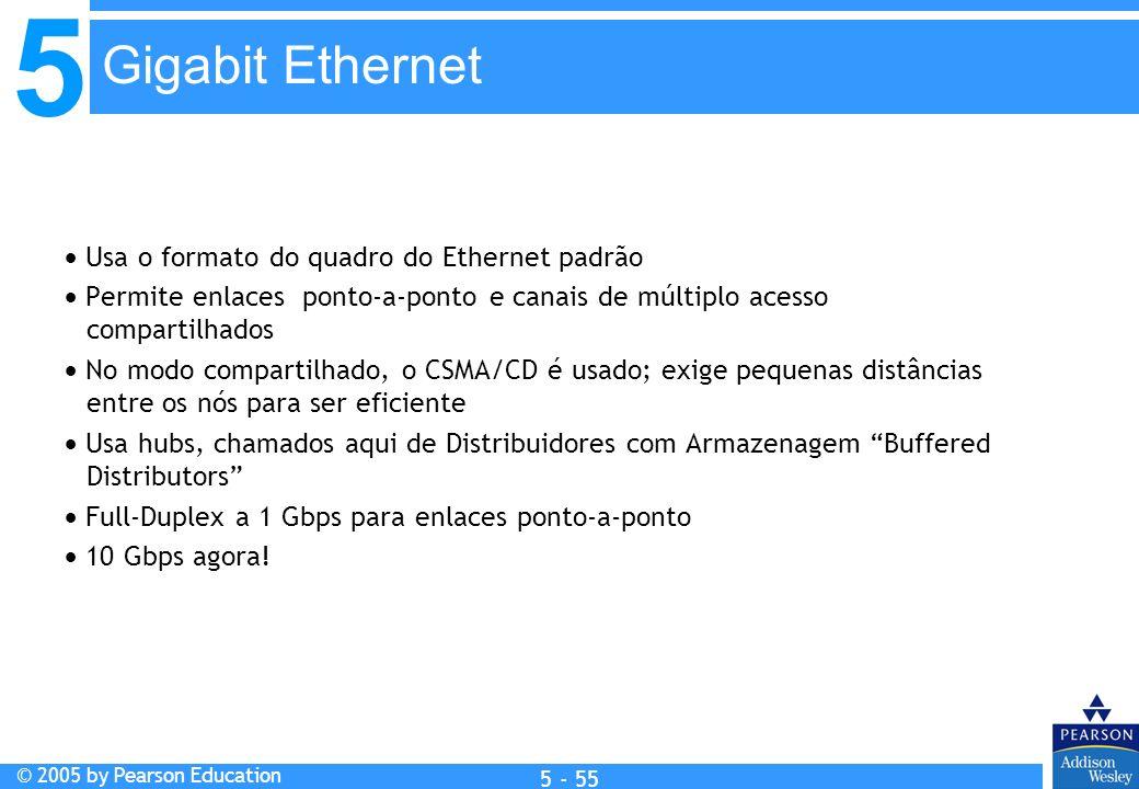5 © 2005 by Pearson Education 5 - 55 Usa o formato do quadro do Ethernet padrão Permite enlaces ponto-a-ponto e canais de múltiplo acesso compartilhad