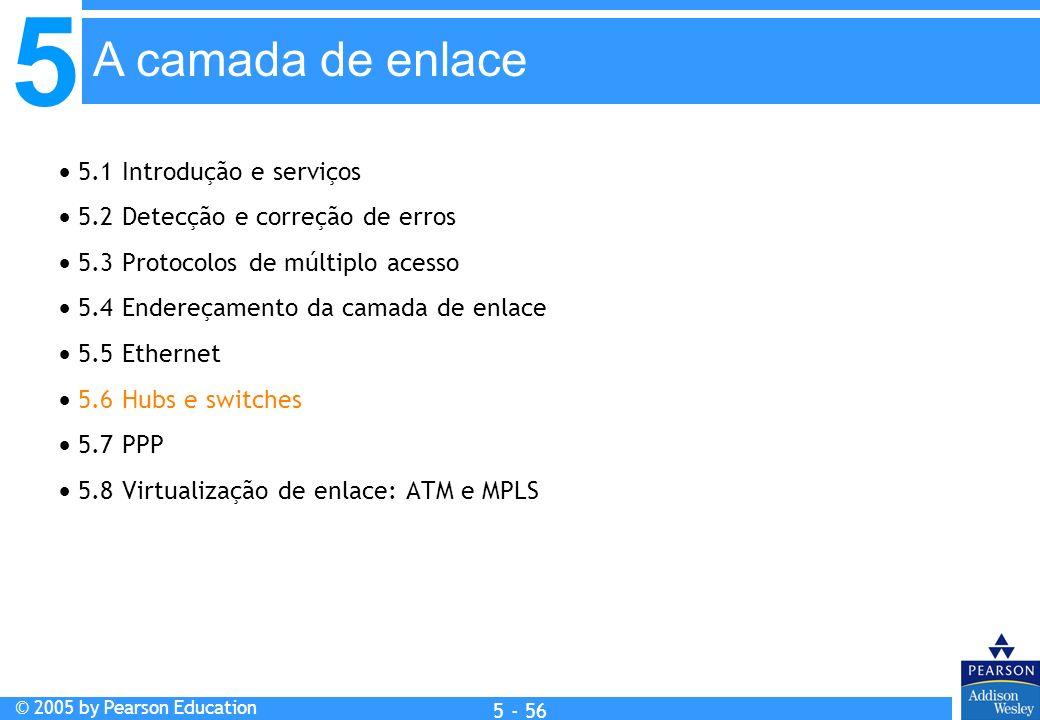 5 © 2005 by Pearson Education 5 - 56 A camada de enlace 5.1 Introdução e serviços 5.2 Detecção e correção de erros 5.3 Protocolos de múltiplo acesso 5