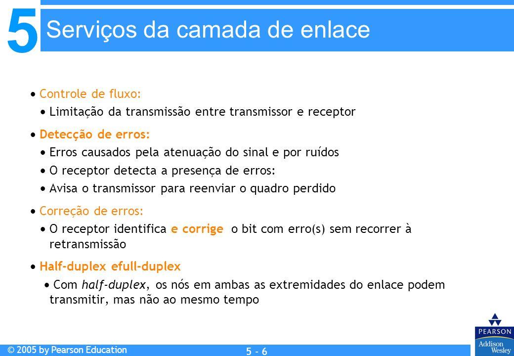 5 © 2005 by Pearson Education 5 - 6 Controle de fluxo: Limitação da transmissão entre transmissor e receptor Detecção de erros: Erros causados pela at