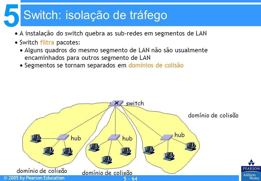 5 © 2005 by Pearson Education 5 - 64 A instalação do switch quebra as sub-redes em segmentos de LAN Switch filtra pacotes: Alguns quadros do mesmo seg