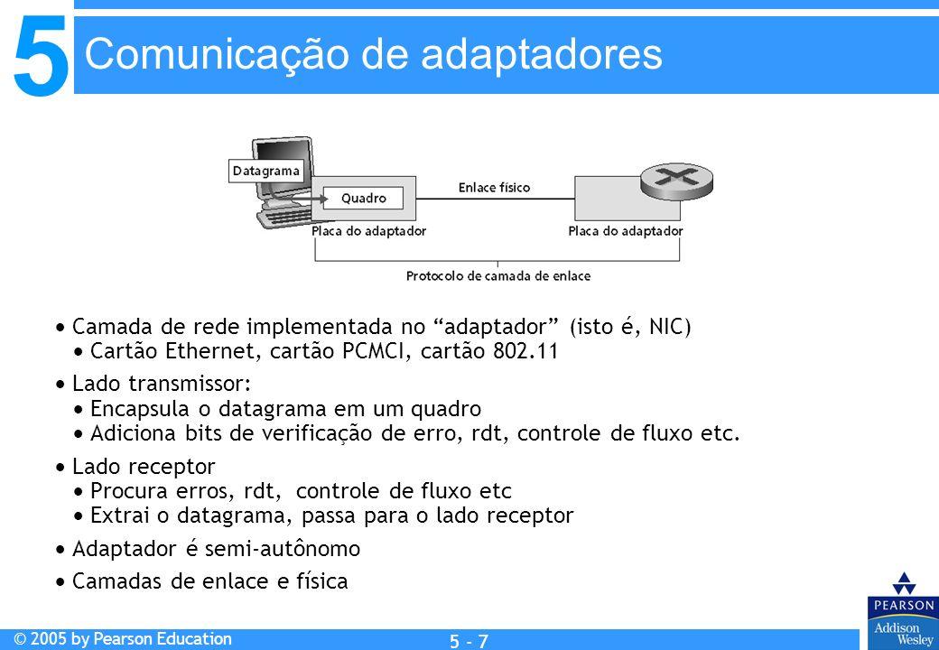5 © 2005 by Pearson Education 5 - 7 Camada de rede implementada no adaptador (isto é, NIC) Cartão Ethernet, cartão PCMCI, cartão 802.11 Lado transmiss