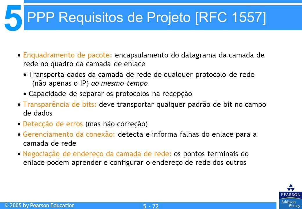 5 © 2005 by Pearson Education 5 - 72 Enquadramento de pacote: encapsulamento do datagrama da camada de rede no quadro da camada de enlace Transporta d