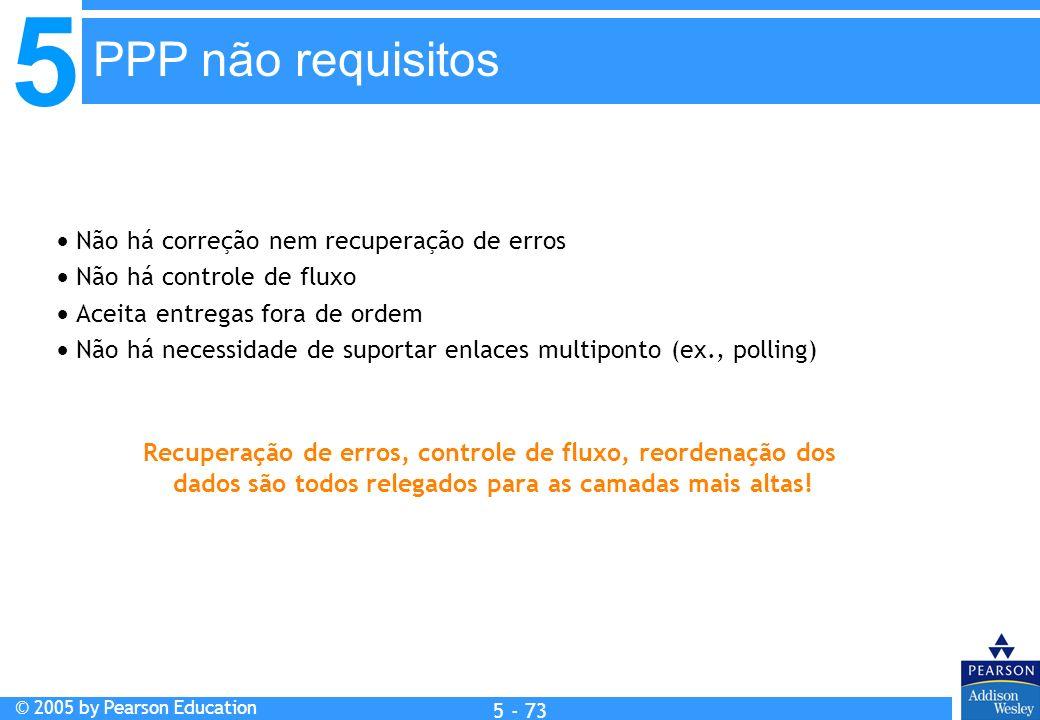5 © 2005 by Pearson Education 5 - 73 Não há correção nem recuperação de erros Não há controle de fluxo Aceita entregas fora de ordem Não há necessidad