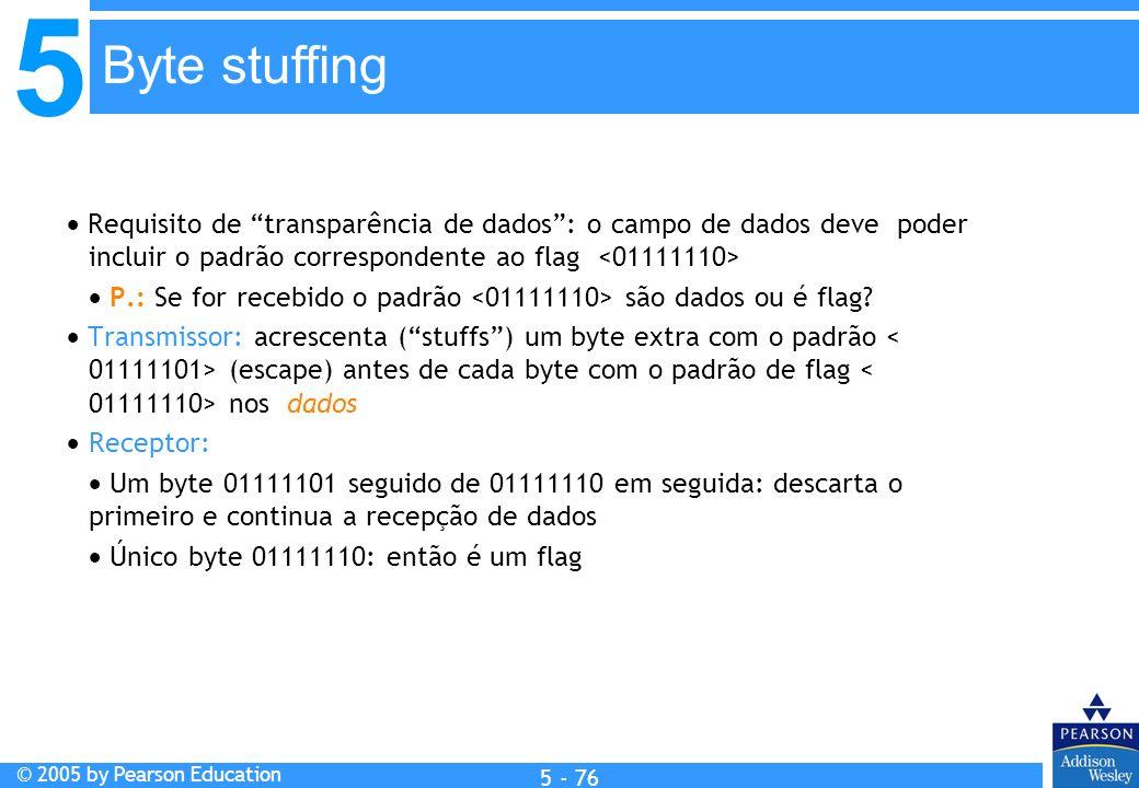 5 © 2005 by Pearson Education 5 - 76 Requisito de transparência de dados: o campo de dados deve poder incluir o padrão correspondente ao flag P.: Se f