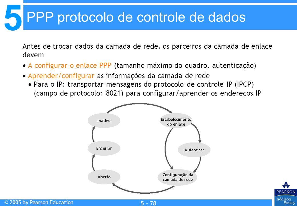5 © 2005 by Pearson Education 5 - 78 Antes de trocar dados da camada de rede, os parceiros da camada de enlace devem A configurar o enlace PPP (tamanh