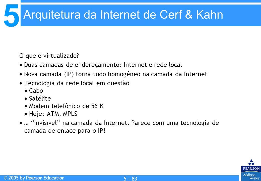 5 © 2005 by Pearson Education 5 - 83 O que é virtualizado? Duas camadas de endereçamento: Internet e rede local Nova camada (IP) torna tudo homogêneo
