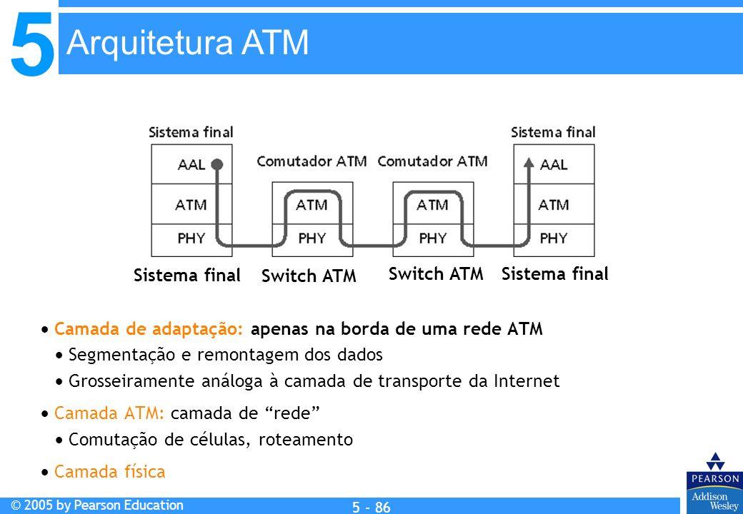 5 © 2005 by Pearson Education 5 - 86 Camada de adaptação: apenas na borda de uma rede ATM Segmentação e remontagem dos dados Grosseiramente análoga à