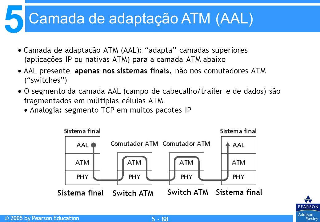 5 © 2005 by Pearson Education 5 - 88 Camada de adaptação ATM (AAL): adapta camadas superiores (aplicações IP ou nativas ATM) para a camada ATM abaixo